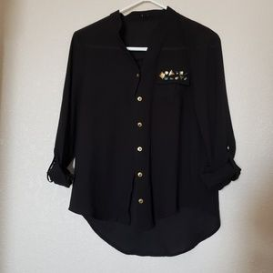 Tops - 🌞Long sleeve Black button down with jewels L 🌞
